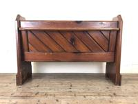 Antique Pitch Pine Church Pew with Enamel Number 28 (12 of 12)