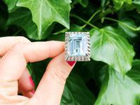 20.50 ct Aquamarine and 2.15 ct Diamond, Platinum Dress Ring - Vintage Circa 1950 (2 of 9)