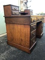 Antique Oak Pedestal Writing Desk (Pri) (3 of 13)