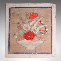 Pair of Antique Decorative Panels, Chinese, Embroidered Silk, Victorian c.1880 (2 of 9)