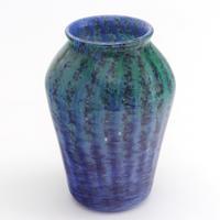 Monart Art Deco Blue & Turquoise Striped Glass Vase c.1930 (4 of 8)
