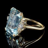 Vintage Aquamarine Diamond Ring 14ct Gold 12ct Emerald Cut Aqua (4 of 8)