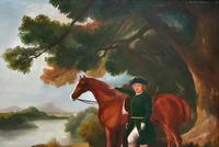 Lovely Large Primitive School Rococo Framed Oil Portrait Painting Horse & Rider (8 of 13)