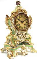 Antique 8 Day Porcelain Mantel Clock Sevres Green Floral French Mantle Clock (5 of 6)