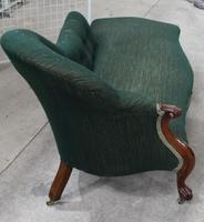 1900's Carved Mahogany Chaise with Buttoned Back in Green (2 of 3)