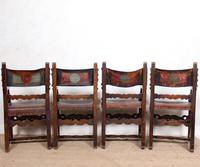 4 Dining Chairs Ships Nautical Chairs Oak Leather 19th Century (4 of 10)