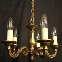 French 5 Light Gilt Brass Antique Chandelier (2 of 9)