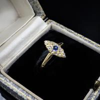 Antique Blue Sapphire & Rose Cut Diamond Marquise Navette 18ct Gold Ring (5 of 9)