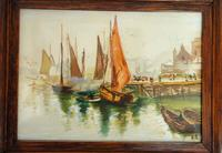 Pair of Early 20th Century Watercolours, Coastal Scene with Boats F&G, inits (5 of 10)