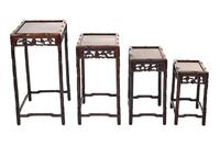 Chinese Hardwood Carved Quartetto Nest of Tables c.1900 (4 of 7)