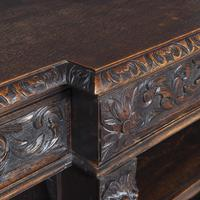 19th Century Flemish Carved Oak Open Breakfront Bookcase (5 of 9)