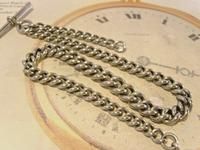 Victorian Pocket Watch Chain 1890s Antique Albo Silver Curb Link Albert With T Bar (5 of 12)