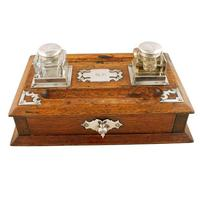 Victorian Oak Inkwell Stand (2 of 7)