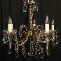 Italian Gilded Brass 5 Light Antique Chandelier (8 of 10)