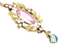 8.84ct Pink Topaz, 1.80ct Aquamarine, 0.10ct Ruby & Enamel, 15ct Yellow Gold Pendant - Antique c.1910 (4 of 9)