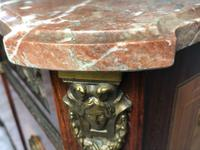 Fine Antique French Empire Style Marble Canted Marquetry Credenza (2 of 12)