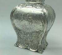 Victorian Lion Topped Sterling Silver Tea Caddy Embossed Romantic Scenes 1900 (7 of 10)