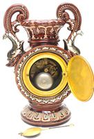 Amazing French 8 Day Majolica Mantle Clock Set Rare Pottery Mantle Clock Set (2 of 11)
