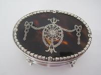 Edwardian Silver & Tortoiseshell Oval Jewellery / Trinket Box (3 of 7)