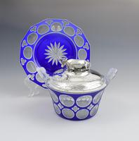 Early Victorian Blue & White Overlay Glass Butter Dish Silver Cow Cover (2 of 15)