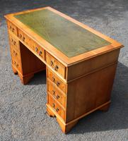 1960s Yew Wood Pedestal Desk with Green Leather (3 of 4)