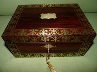 QUALITY Inlaid Regency Rosewood Jewellery Box + Tray. c1830 (2 of 15)