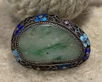 Chinese Jade, White Metal and Enamel Brooch