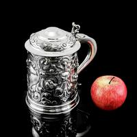 Antique Solid Sterling Silver Large Tankard with Royal Marines Officer Interest - Goldsmiths & Silversmiths Co 1900 (27 of 28)