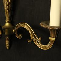 French Pair of Gilded Brass Antique Wall Lights (6 of 8)