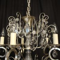 French Silver Gilded 5 Light Antique Chandelier (4 of 11)
