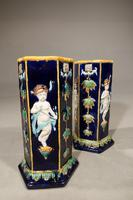 Very Rare Pair of Late 19th Century Majolica Stick Stands (2 of 5)