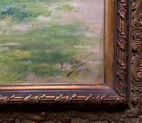 Original 1902 Antique French Riverscape Landscape Oil on Canvas Painting (10 of 13)