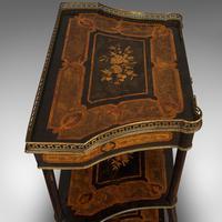 Antique Etagere, Italian, Mahogany, Boxwood, 3 Tier Whatnot, Victorian c.1900 (2 of 12)