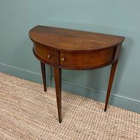 Elegant Demi Lune Tambour Front Antique Side Table (4 of 6)
