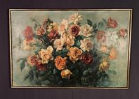 Signed Early 20th Century Large French Oil on Canvas Bouquet of Roses (6 of 8)