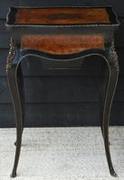 Fine Quality 19th Century French Ebonised & Amboyna Serpentine Sewing Table (17 of 21)
