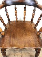 Antique 19th Century Ash & Elm Smokers Bow Chair (8 of 12)
