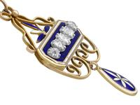 1.89ct Diamond and Enamel, 15ct Yellow Gold & Silver Pendant - Antique Victorian (6 of 12)