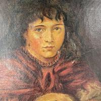 Antique Victorian Oil Painting Portrait of Girl in Red Shawl (7 of 10)