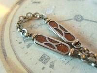 Pocket Watch Chain 1930s German Art Deco Silver Chrome & Goldstone Albert Nos (5 of 12)