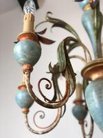 Large Vintage French 6 Arm Polychrome Toleware Ceiling Light Chandelier (10 of 16)