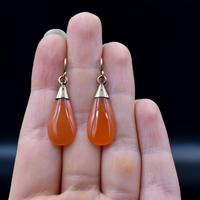 Antique Carnelian Agate 9ct Gold Drop Dangle Earrings (5 of 5)