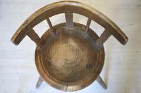 Scandinavian / Swedish 'Folk Art' Blekinge chair, three-legged, curved back & circular seat c.1850 (24 of 31)