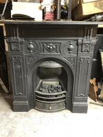 Antique Cast Iron Fireplace with Mantlepiece