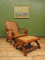 Vintage British Colonial Style Teak & Cane Plantation Chair & Footstool (17 of 17)