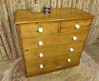 Antique Stripped Pine Chest of Drawers (2 of 9)