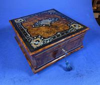 Victorian  French Burr Cedar Jewellery Box with ebonised fruitwood and original interior (4 of 13)