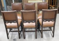 1940s Set of 6 Oak Dining Chairs with Brown Leather Seats (2 of 3)