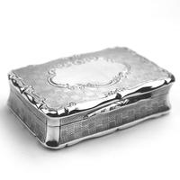 A Good Antique Solid Silver Engraved & Engine Turned Table Snuff Box C.1860