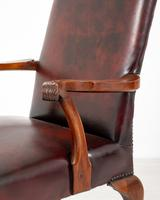 Pair of Chippendale Style Leather Gainsborough Chairs (2 of 8)